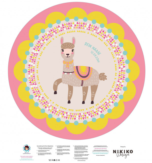 DIY-Nähset Babydecke - Rund - Lama 2 - Girl - Top Babydecke - pers. Krabbeldecken Top - zum selber Nähen