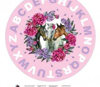 DIY-Nähset Babydecke - Rund - Pferde - ABC - 03 - Top Babydecke - pers. Krabbeldecken Top - zum selber Nähen