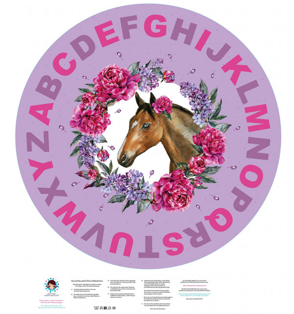 DIY-Nähset Babydecke - Rund - Dream Horses - ABC - 04 - Top Babydecke - pers. Krabbeldecken Top - zum selber Nähen
