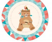 DIY-Nähset Babydecke - Rund - BohoTiere - Bär - Top Babydecke - pers. Krabbeldecken Top - zum selber Nähen