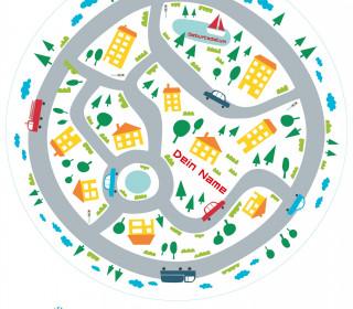 DIY-Nähset Babydecke - Rund - Autostadt - Top Babydecke - pers. Krabbeldecken Top - zum selber Nähen