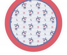 DIY-Nähset Babydecke - Rund - HafenKitz Stripes - Mini - rot - pers. Deckentop - NIKIKO - zum selber Nähen