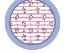 DIY-Nähset Babydecke - Rund - HafenKitz Stripes - Mini - blau - pers. Deckentop - NIKIKO - zum selber Nähen
