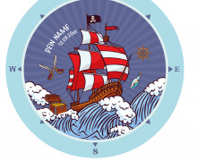 DIY-Nähset Babydecke - Rund - Piratenboot - Top Babydecke - pers. Krabbeldecken Top - zum selber Nähen